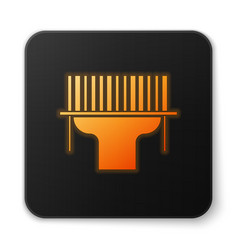 Orange glowing neon scanner scanning bar code icon vector