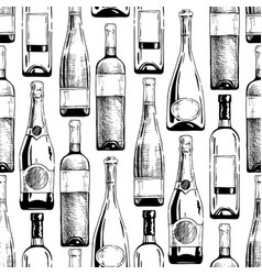 Pattern with wine and champagne bottles vector