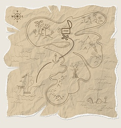 Pirate treasure map of the island on old paper vector image