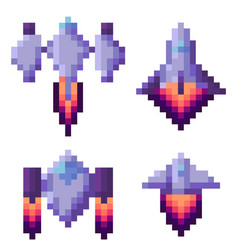 pixel game spaceship transportation floating set vector image
