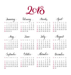 Plain wall calendar 2018 year lettering flat vector