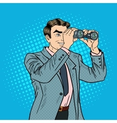 Pop Art Businessman with Binoculars Looking Money vector