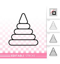 Pyramid toy simple black line icon vector