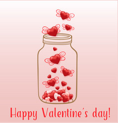 red hearts flying from the glass jar vector image