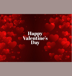 Red valentines day background with many hearts vector