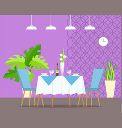 Restaurant interior monstera plant and table vector