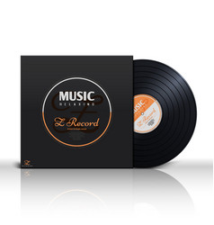 Retro stereo audio black vinyl disc and album vector