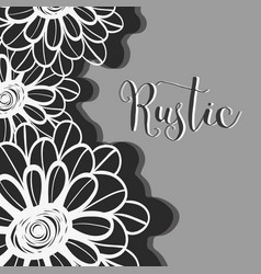 Rustic flowers with petals design background vector