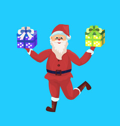 santa claus merry christmas happy new year holiday vector image