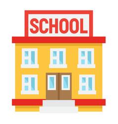School building flat icon education and leran vector