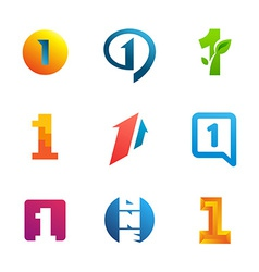 Set of number one 1 logo icon design template vector image