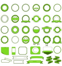 Set of sale badges labels and stickers in green vector image