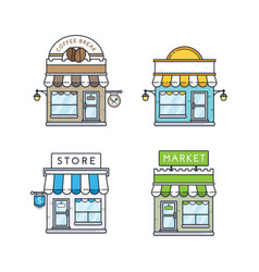 set of store buildings vector image
