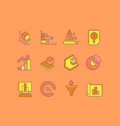 set simple line icons web analytics vector image
