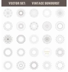 set vintage sunburst geometric shapes and light vector image