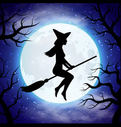 silhouette of witch flying on the broom vector image