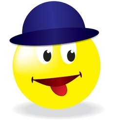 smiley in blue cap vector image
