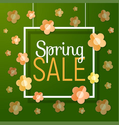 Spring sale text with paper frame flowers vector