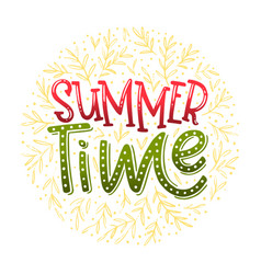 Summer time - hand drawn typographic design vector