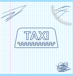 taxi car rosign line sketch icon isolated on vector image