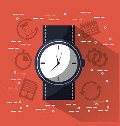 Time round clock wrist watch jbusiness vector
