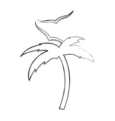 tree palm beach with gulls vector image