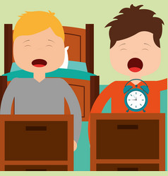Two boy waking up with bed clock in room vector
