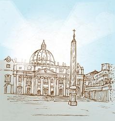 Vatican city background hand draw vector