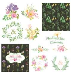Vintage Floral Set - Frames Ribbons Backgrounds vector image