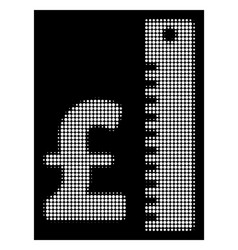 White halftone pound rate icon vector