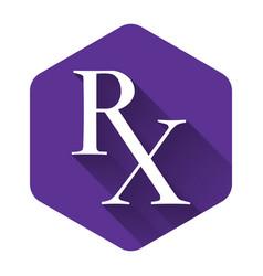 White medicine symbol rx prescription icon vector