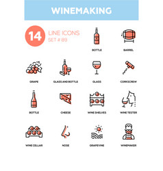 winemaking - modern line design icons set vector image