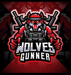 wolves gunner esport mascot logo vector image