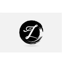z letter logo alphabet on grunge circle in black vector image