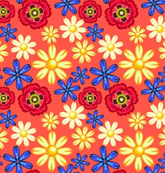 cornflower camomile and poppy seamless pattern vector image vector image