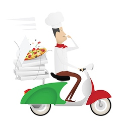 Funny chef delivering pizza on a moped vector image
