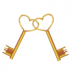 golden key opens the heart vector image