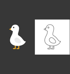Goose icon flat and outline vector