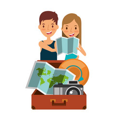 happy couple travelers tourist with suitcase open vector image