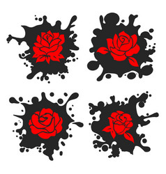 ink stains silhouettes with red roses vector image vector image