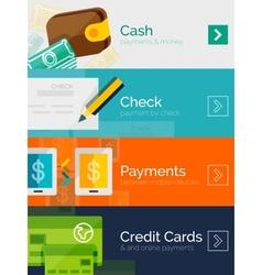Set of flat design concepts payment online vector image