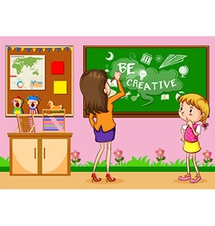 Teacher writing on the board in classroom vector