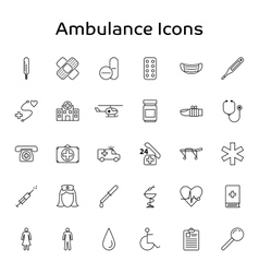 Ambulance Medical and Healthcare outline vector image vector image