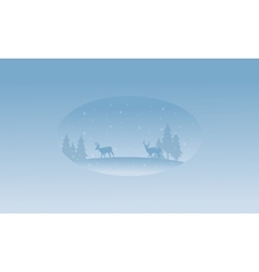 Beautiful scenery deer on the hill at winter vector image vector image