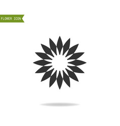 black flat silhouette object of flower for logo vector image