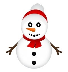 Christmas Snowman on white background vector image