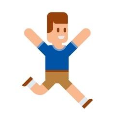 Funny cute boy running vector image