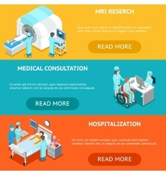 Healthcare flat 3d isometric banners MRI medical vector image