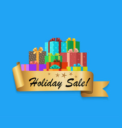 holiday sale banner depicting colorful gift boxes vector image vector image