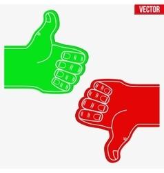 Sports fans foam fingers loke and dislike vector